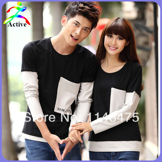 Womens Spring Clothing 2014 Patchwork Fashion Pocket Long-sleeve Boys T Shirt For Girl Plus Size Couples Shirts and Lovers T2045(China (Mainland))