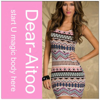 Ladies Retro Gray/Green/Blue/Rose Aztec Girl Print Dress Brand Bodycon Printed Mini Women Dress Beach Sundress New 2014 Summer
