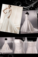 Wholesale Ivory Satin Strapless Scalloped Bridal Wedding Dress,New Real Bridal Gown,Wedding Bridal Dress-LB1873 Free Shipping