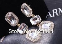 Free Shipping Hot Shiny Geometrical Square Zircon Stone Dangle Drop Earrings Fashion Jewelry for Women Evening Dress Accessories