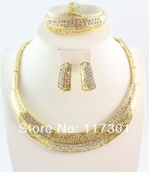2014 Free Shipping Hot Sale African costume Vintage necklace Bangle Earring Ring Fashion full rhinestone Gold jewelry set