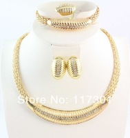 2014 Free Shipping Hot Sale New Gold Plated Chunky African Fashion Jewelry set for Women Wedding Jewelry Set