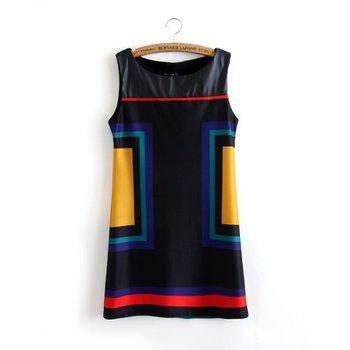 Уникальный D5-291 Новый 2014 весной и летом Новая мода кожа Лоскутная платье без ...