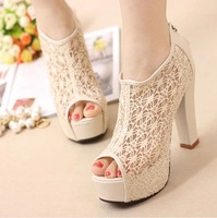 NEW! 2014 summer women's pumps thick heel open toe sandals high-heeled shoes female fashion platform shoes,beige+black,size35-39