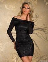 Sexy Off Shoulder Long Sleeves Metallic Cocktail Party Dress @LS806