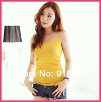 2014 Women  sexy cotton bottoming camis strap vest plus size basic full tops shirt S M L XL XXL