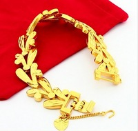 Fashion 24K  Gold Plated Jewelry Fashion Yellow Gold Golden Bracelet Bangle Free Shipping 8mm Chain Leaf Chain Bracelet