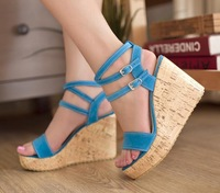PU Leather Heeled Wedge Sandals New 2014 Brand Casual Summer Sandalias Gladiator Wedges Pumps Platform Footwear Female Shoes