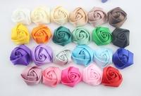 Wholesale Baby Girls Satin Rose Flower for headband 1.5 Inch Ribbon Fower for girls hair band ballerina flowers 100PCS