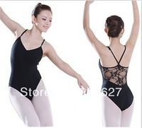 NWT BLACK CAMISOLE DANCE LEOTARD Princess BALLET Leotard with Lace
