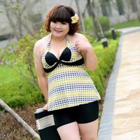 Bribed swimwear female steel push up swimsuit split plus size swimwear