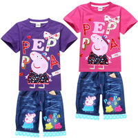 wholesale 2013 Rainbow Peppa Pig Children Clothing Sets Summer Baby Suit Little Girls Set Tshirt + Jeans Shorts Kids Clothes