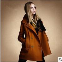 New  2014 Winter Women Wool & Blends Coat  Europe Fashion PlusSize Slim Double Breasted Wool Coat Outerwear