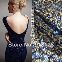 Hollow out mesh cloth, sapphire sequins fashion dress fabrics.width 145cm
