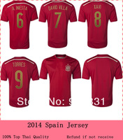 Top thailand A+++ quality 2014 Spain soccer jersey player Version Embroidery Logo,Spanish Football shirts Home red Spain jerseys