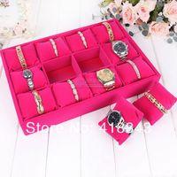 FOR WOMEN Upscale full velvet bracelet watch display box tray new