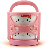 Free shipping 2014 New arrived Ceramic lunch box Portable Fresh bowls dinnerware Hello kitty double layer food containers