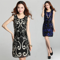 2014 New Women Decoration sequins Popular mesh A Slim was thin dress Free Shipping