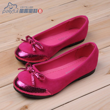 2014 spring bow dance shoes dance shoes female child princess shoes leather shoes children(China (Mainland))