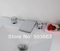 LED New Waterfall Design 3 Pieces 2 Lever Bathroom Bathtub Basin Sink Brass Faucet Vanity Mixer Tap Chrome MF-479