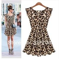 Summer star style leopard print one-piece dress sleeveless vest slim one-piece dress