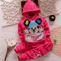 Retail 1 pc New 2014 spring/autumn mikey  cartoon suits two piece set mikey  hoodie+long pant 2pcs sets ST024