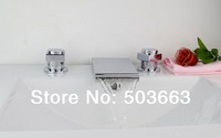 Fashion LED Waterfall Design 3 Pieces 2 Lever Bathroom Bathtub Basin Sink Brass Faucet Vanity Mixer Tap Chrome MF-480