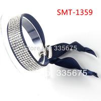 free shipping 5pcs 1 wrap 6 rows rhinestone navy dark blue girls teen ribbon friendship bracelet with alloy clasp women jewelry