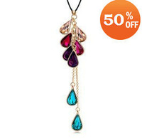 18k white gold plated rhinestone crystal fashion pendant necklace wedding jewelry for women C3730