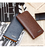 2014 Free shipping Men's Genuine Leather Long Wallet Business Casual Cowhide Leather Purse For Gift WA006