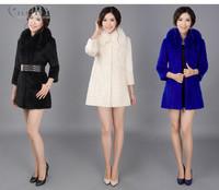 EMS Free Shipping 100% Real Genuine Natural Fox Fur Collar Whole Rabbit Fur Luxury Medium-Long Coat Jacket Garment Women PC117