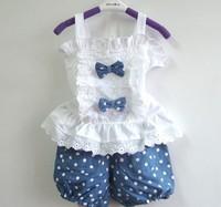 New 2014 summer suits  two piece set  condole belt shorts Embroidery flower condole belt +shorts2pcs sets ST022