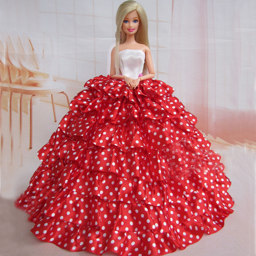 new arrvial baby gift doll high quality elegant white dots red dress for barbie(China (Mainland))