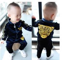 Fashionable children's wear suit golden leopard cartoon children suit in the spring of 2014