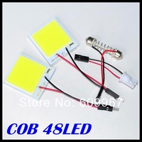 Free Shipping 50pcs/lot 48 led  SMD COB LED Car Panel light Interior Room Dome Car Light Bulb Lamp with 2 Adapters
