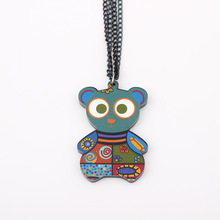 Wholesale colorful bear face new 2014 lovely cute & pendant fashion girls acrylics necklace & pendant for woman Free shipping