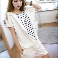 2014 spring female with a hood stripe short-sleeve t-shirt fashion sports sweatshirt set casual set