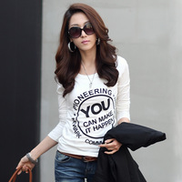 2014 spring clothes women's basic shirt plus size clothing top o-neck long-sleeve slim T-shirt female