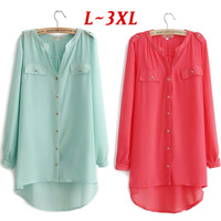 BloB/L-XXXL SIZE The Newest High Quality European Style Loose Fit Chiffon Plus Size Blouse/Cardigan/Tops