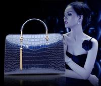 Free shipping fashion designer famous luxury brand totes bags woman real crocodile pattern genuine leather handbags women bag