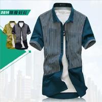 Free shipping 100% cotton Hot selling 2014 spring autumn Short-sleeve shirt Fashion Stripe mens shirts Men's Slim Shirt   D485