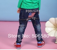 5pcs/lot Children Girl Boy Spring Clothing Star Flag Letter DenimTrousers Jeans Wholesale For 3-8 Year Kids