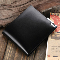 Free shipping Men's Genuine Leather Short Wallet Cowhide Leather Black Casual Business Purse For Gift WA007