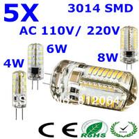 5pcs  AC110V/220V High Power  3014 SMD 3W 6W 8W G4 LED Lamp Replace 50W halogen lamp 360 Beam Angle LED Bulb lamp