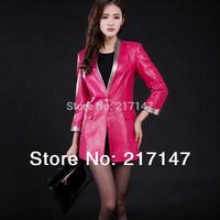 2014 spring genuine leather suit female medium-long genuine leather sheepskin clothing slim jacket