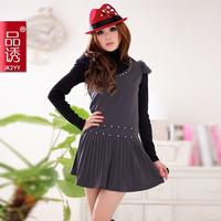 Free shipping 2014 women's luxury rabbit fur elegant beading V-neck 2311 short-sleeve dress