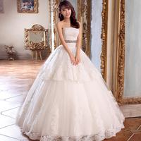 New arrival 2014 love lace tube top wedding dress princess puff skirt wedding dress quality