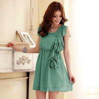 Free shipping 2014 summer cool ruffle hem ruffle collar elastic waist chiffon one-piece dress 3414
