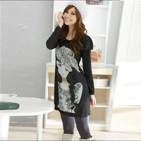 Free shipping Autumn faux two piece set long-sleeve dress the loggerhead print o-neck casual loose black