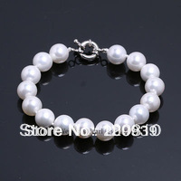 "0070 LARGE 12MM 7.5"" WHITE COLOR ROUND SHAPE SEA SHELL PEARL BEAD BRACELET RING CLASP"